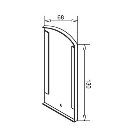 Glass Railing Floor Profile Anodized End Cap Right | Product technical drawing