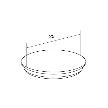 Glass Railing Wall Profile Anodized Hole Cap | Product technical drawing