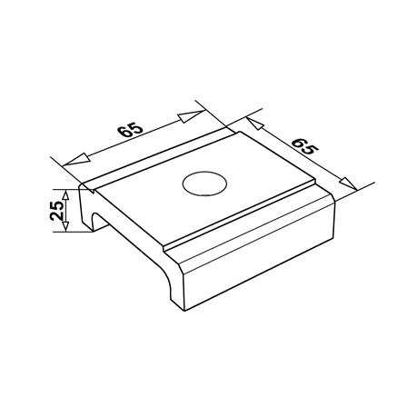 Glass Railing Water Spacer for Drainage Anodized | Product technical drawing