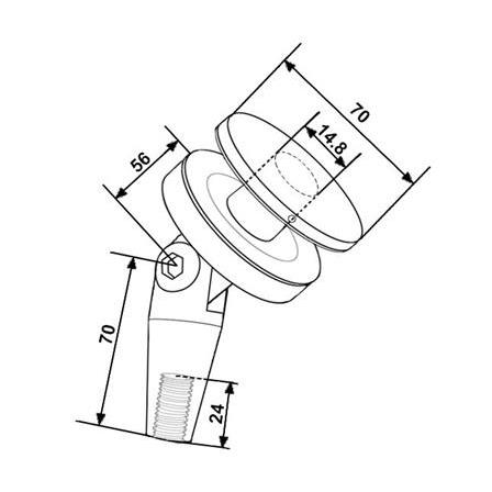 Rod Holder Glass Mounted for Glass Canopy System | Product technical drawing