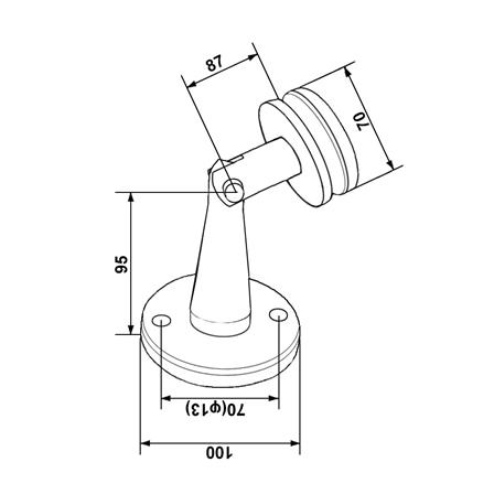 Glass Holder Wall Mounted for Glass Canopy System | Product technical drawing
