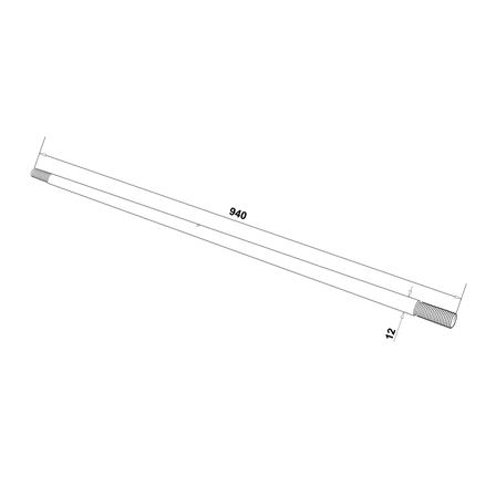 12mm Rod L=940mm for Glass Canopy System | Product technical drawing