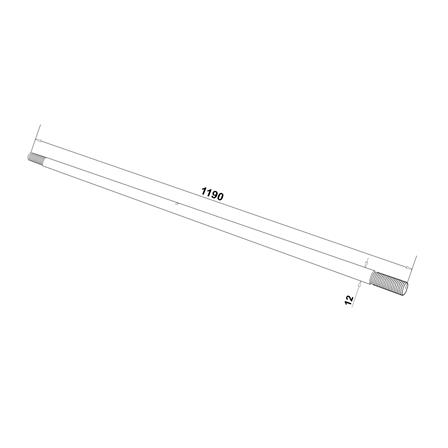 12mm Rod L=1190mm for Glass Canopy System   Product technical drawing