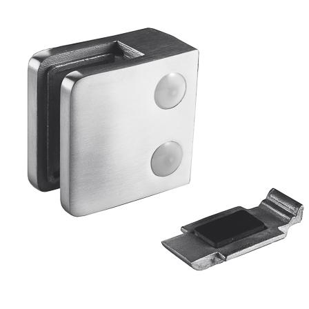 Lasikiinnike 45x45 mm tasainen M8 lasi 6/8.76/10 mm, varmistuslevy | Tuotekuva