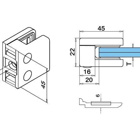 Lasikiinnike 45x45 mm tasainen M8 lasi 6/8.76/10 mm, varmistuslevy | Tuotteen tekninen kuva