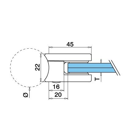 Glass Clamp 45x45 mm OD 42.4 mm 8/8.76/10 (M8) Securing Plate | Product technical drawing