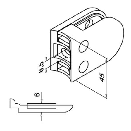 Glass Clamp 45x63 mm OD 42.4 mm8.76/10/12 mm (M8) Securing Plate | Product technical drawing