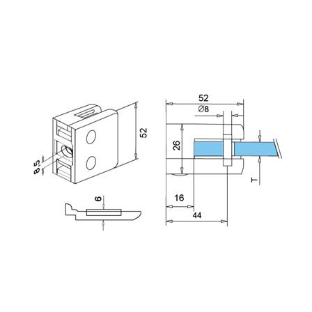 Glass Clamp 52x52 mm Flat 8.76/10/12 mm (M8) Securing Plate | Product technical drawing