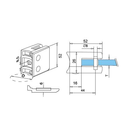 Glass Clamp 52x52 mm OD 42.4 mm 8.76/10/12 mm (M8) Securing Plate   Product technical drawing