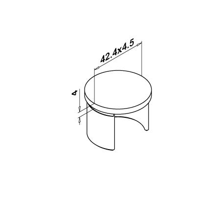 Slot Tube End Cap 42.4x1.5 mm Flat   Product technical drawing