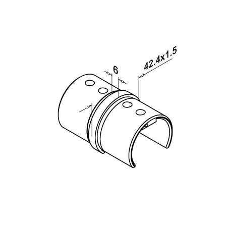 Slot Tube Connector 42.4x1.5 mm 180° Straight | Product technical drawing