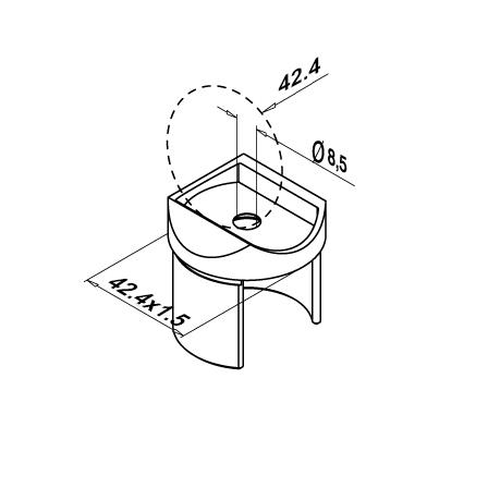 U-Tube Support Round 42.4 mm OD 42.4x1.5 mm | Product technical drawing