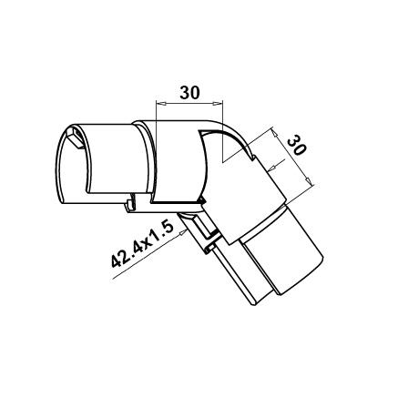 Slot Tube Connector 42.4x1.5 mm Vertical Adjustable Down Corner | Product technical drawing