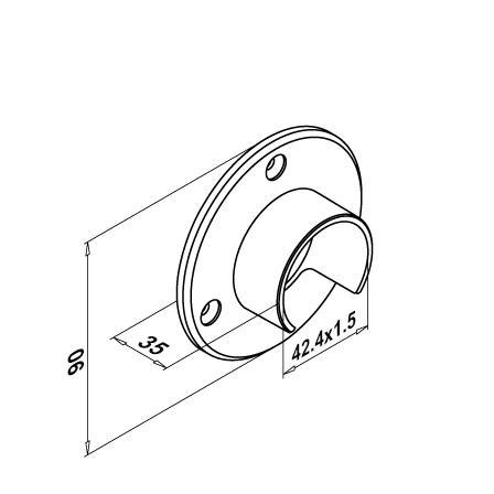 U-Tube Holder OD 42.4x1.5 mm | Product technical drawing