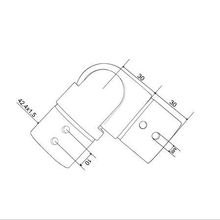 Slot Tube Connector 42.4x1.5 mm Hotizontal Adjustable Corner | Produkta tehniskais rasējums