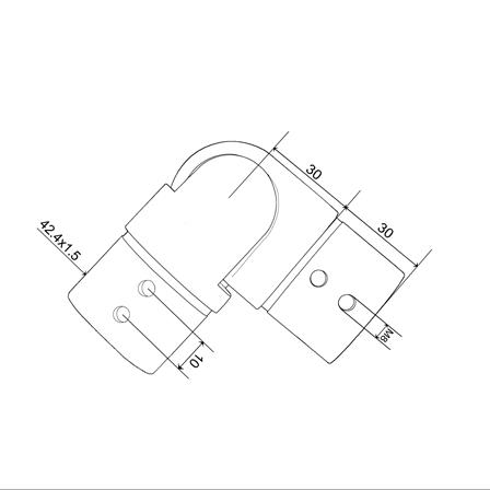Slot Tube Connector 42.4x1.5 mm Hotizontal Adjustable Corner | Product technical drawing
