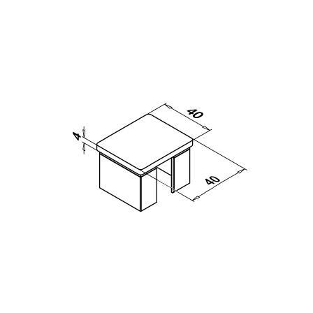 Slot Tube End Cap 40x40x1.5 mm Flat   Product technical drawing
