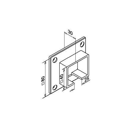 Slot Tube Holder 40x40x1.5 mm Wall-mounted | Product technical drawing