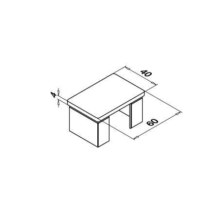 Slot Tube End Cap 40x60x1.5 mm Flat   Product technical drawing