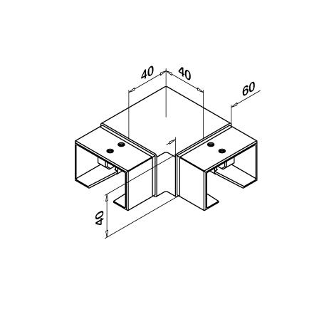 Slot Tube Connector 40x60x1.5 mm 90° Horizontal   Product technical drawing