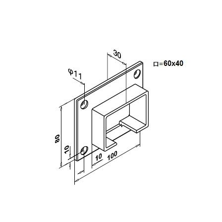 Slot Tube Holder 40x60x1.5 mm Wall-mounted   Product technical drawing