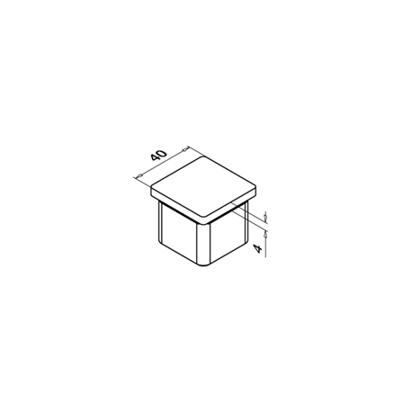 Square End Cap 40x40x2.0 mm Flat   Product technical drawing