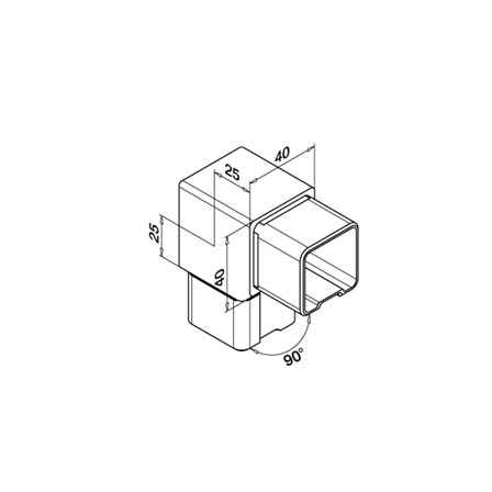 Square Connector 40x40x2.0 mm 90° Sharp Corner   Product technical drawing