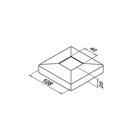 108x108 mm põrandakinnitus kate 40x40x2.0 mm torule | Toote tehniline joonis