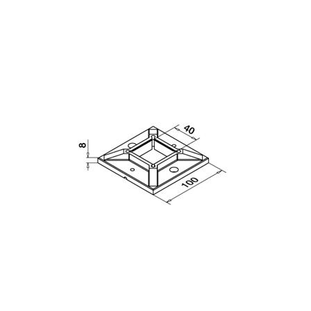 100x100 mm põrandakinnitus (2 kruviava) 40x40x2.0 mm torule   Toote tehniline joonis