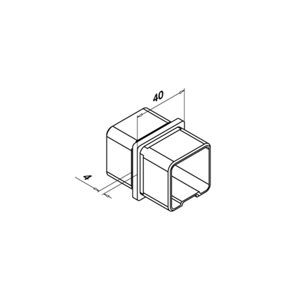 Square Connector 40x40x2.0 mm 180° Straight    Product technical drawing
