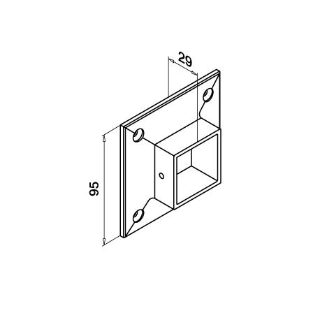 Square Holder 40x40x2.0 mm Wall mount | Product technical drawing