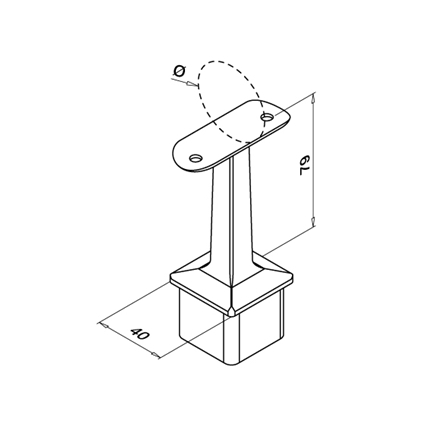 Square Tube Support 42.4 mm OD 40x40x2.0 mm | Product technical drawing