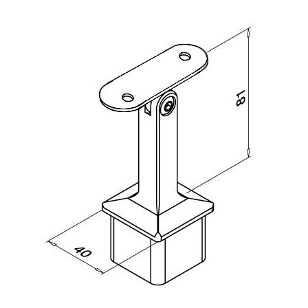 Square Saddle 40x40x2.0 mm Flat Adjustable   Product technical drawing