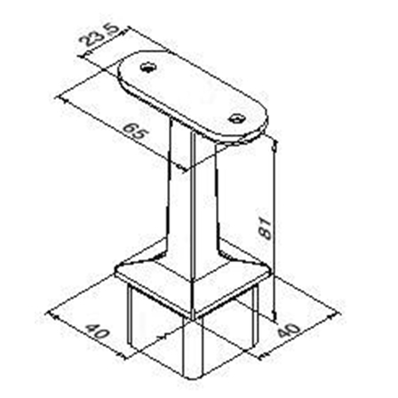 Square Tube Support Flat 40x40x2.0 mm | Product technical drawing