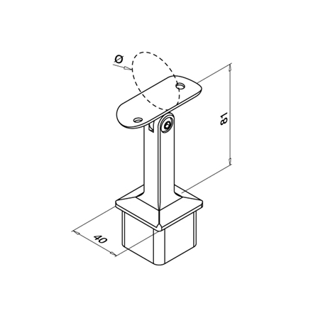 Square Saddle 40x40x2.0 mm OD 42.4 mm Adjustable | Product technical drawing