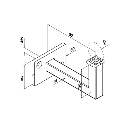 Square Tube Support for OD 42.4 mm   Product technical drawing