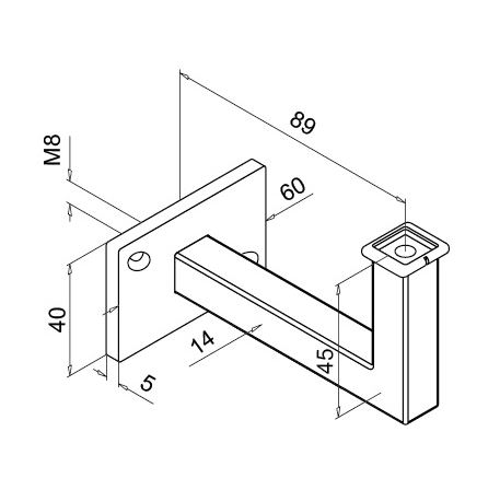 Square Tube Support Flat | Product technical drawing