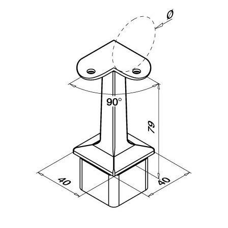 Наконечник на квадратную трубу 40x40x2,0 мм c ложементом 90° 42,4 мм | Чертеж продукта