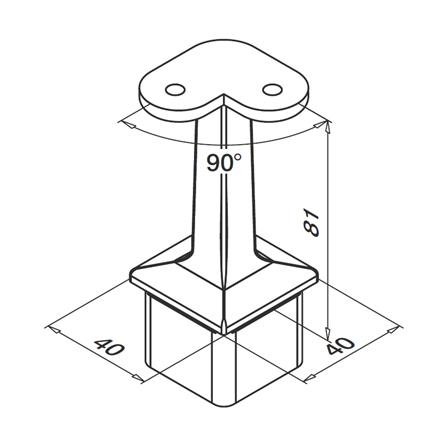 Square Saddle 40x40x2.0 mm Flat/Angle 90°   Product technical drawing
