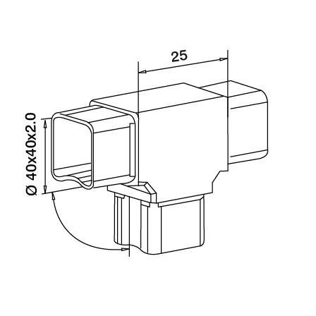 Connector 40x40x2.0 mm Tee 3-way | Product technical drawing