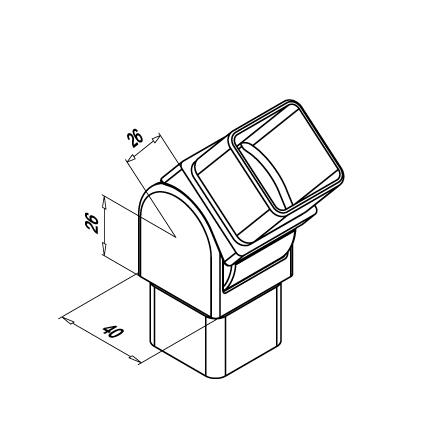 Square elbow OD 40x40x2 mm   Product technical drawing