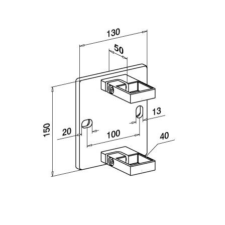 Square Wall Bracket OD 40x40x2 mm   Product technical drawing