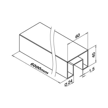 Slot Tube 40x60x1.5 Satin 320 24x24 | Product technical drawing