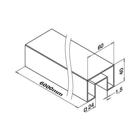 Slot Tube 40x60x1.5 Satin 320 24x24 | Product technical drawing
