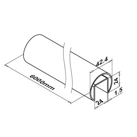 Slot Tube 42.4x1.5 Satin 320 24x24 | Product technical drawing
