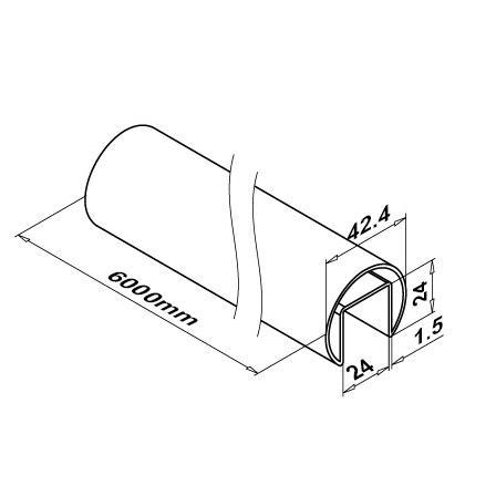 Slot Tube 42.4x1.5 Satin 320 24x24 | Product technical drawing